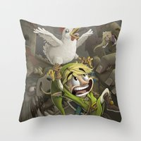 zelda Throw Pillows featuring Zelda by Dave Armstrong