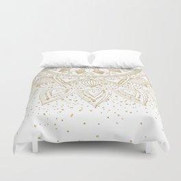 Elegant Gold Mandala Confetti Design Duvet Cover