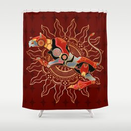 Red Lion Batik Shower Curtain