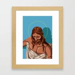 Jesus Christ in Blue Framed Art Print