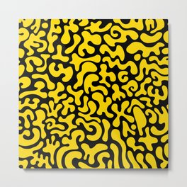 Social Networking Yellow Metal Print