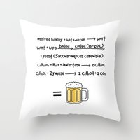 beer Throw Pillows featuring Beer by science fried art