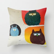 Fluffy Fat Birds - Sweetness on a Branch Throw Pillow