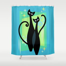 Sassy Sparkling Atomic Age Black Kitschy Cats Shower Curtain
