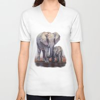 novelty V-neck T-shirts featuring Elephants Mom Baby by Moody Muse