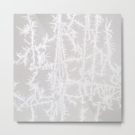 White Ice Crystals on Gray Background Metal Print
