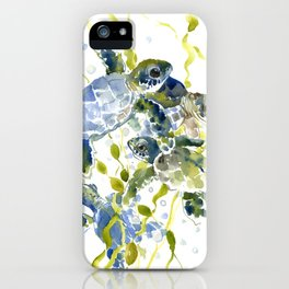Turtle Baby Sea Turtles, underwater scene olive green, green indigo blue children iPhone Case