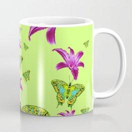 LIME COLOR PURPLE LILIES GREEN MOTHS Coffee Mug