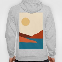 Relaxing Minimal Abstract Mountain Landscape with Water Inlet and Boat Hoody
