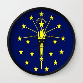 flag indiana,midwest,america,usa,carmel, Hoosier,Indianapolis,Fort Wayne,Evansville,South Bend Wall Clock
