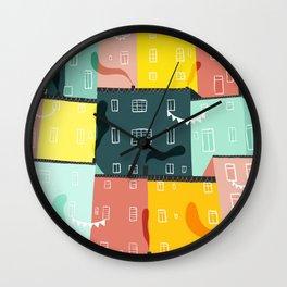 Rainbow city party Wall Clock