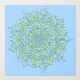 Blue and Green Flower Mandala Canvas Print