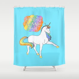 Light blue Unicorn Shower Curtain
