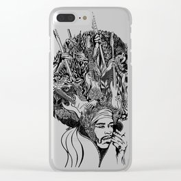 Handdrawn psychedelic Jimi Hendrix black and white portrait illustration Clear iPhone Case