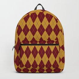 Geometric burgundy yellow orange diamond shapes stripes Backpack
