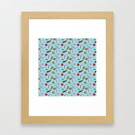 Christmas Beagle and Dalmatian with Presents and Candy Canes Framed Art Print