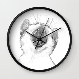 Black and White Sleepy Kitten Wall Clock