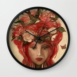 red haired green eyed Crimson Fairy with flowers butterflies and birds portrait Wall Clock