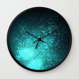 Vibrant Aqua and Black Spray Paint Splatter Wall Clock