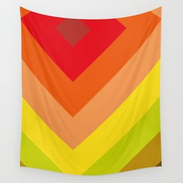 Squares, concentric squares. With a lot of shades of red and orange and brown and green and yellow. Wall Tapestry
