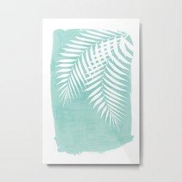 Teal Paint Stroke of Palm Leaves Metal Print