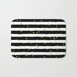 Hand drawn pattern, black and white stripes and gold dots Bath Mat