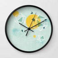 journey Wall Clocks featuring Journey by Orit Kalev