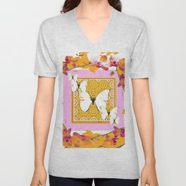 White Butterflies Orchid Sprays Purple Lilac-Gold Patterns Unisex V-Neck