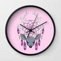 dreamcatcher Wall Clocks featuring Dreamcatcher by Freeminds