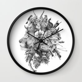 Kingdom of Monarchs (Black and White Version) Wall Clock