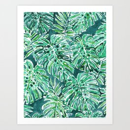 JUNGLE VIBES Green Monstera Watercolor Print Art Print