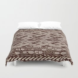 knit patchwork in sand Duvet Cover