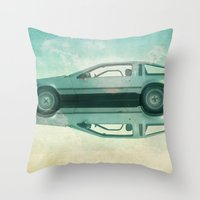 delorean Throw Pillows featuring Siamese  Delorean by Vin Zzep