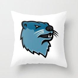 River Otter Head Mascot Throw Pillow