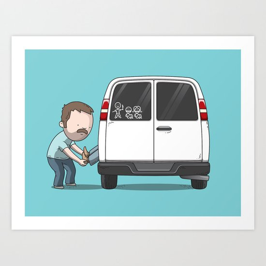 Family Car Sticker Art Print
