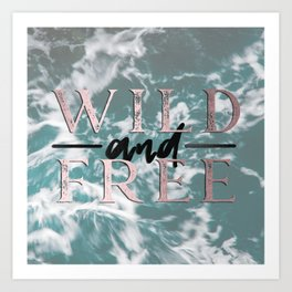 Wild and Free Waves in Rose Gold Art Print