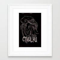cthulhu Framed Art Prints featuring Cthulhu by James Reddington