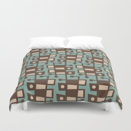 Mid Century Modern Abstract 212 Sage Green and Brown Duvet Cover