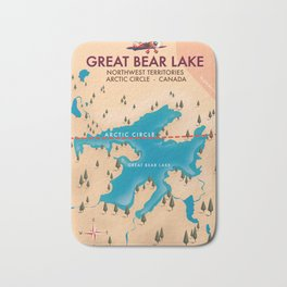 Great Bear Lake, canada, map travel poster Bath Mat