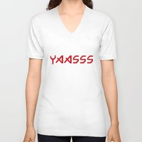 iron maiden V-neck T-shirts featuring Yaasss Iron Maiden Metal Typography Print by RexLambo