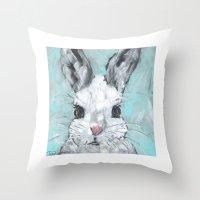 Bunny on Blue Throw Pillow