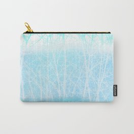 Frosted Winter Branches in Misty Blue Carry-All Pouch