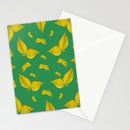 Golden leafs pattern Stationery Cards