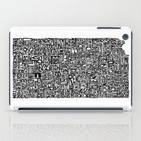 kansas iPad Cases featuring Typographic Kansas by CAPow!