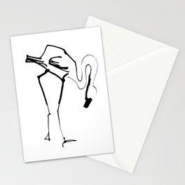 Simple Black Ink Flamingo Illustration, Minimalist Art. Stationery Cards