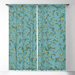 The birds and the bees pattern on blue Blackout Curtain