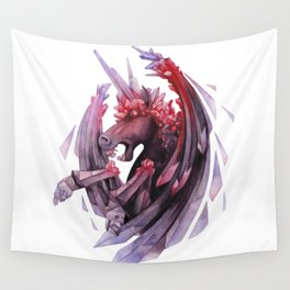 Watercolor crystallizing demonic horse Wall Tapestry