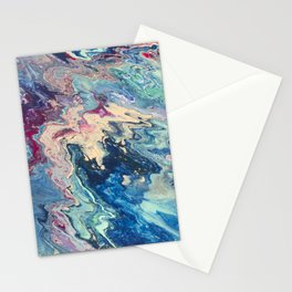 Blue swirl pour painting, Bohemian Style painting Stationery Cards