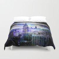 new york skyline Duvet Covers featuring New York Skyline by haroulita
