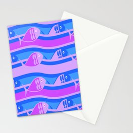 Fish texture blue violet module Stationery Cards